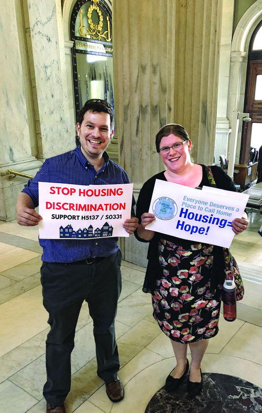 Mike Klein and Rabbi Rachel Zerin at the Rhode Island State House.