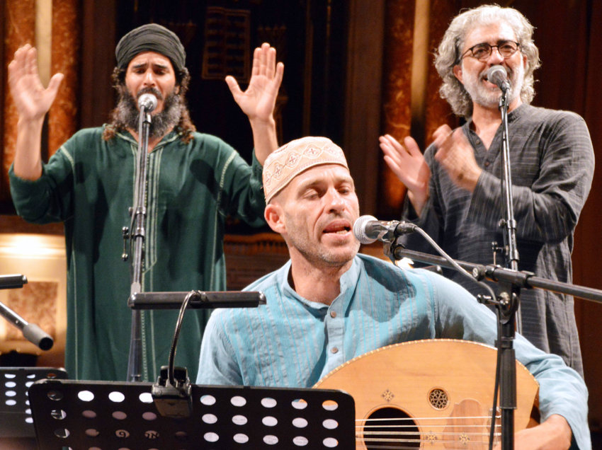 Niro Abekasis (center) and members of   the Piyut Ensemble.