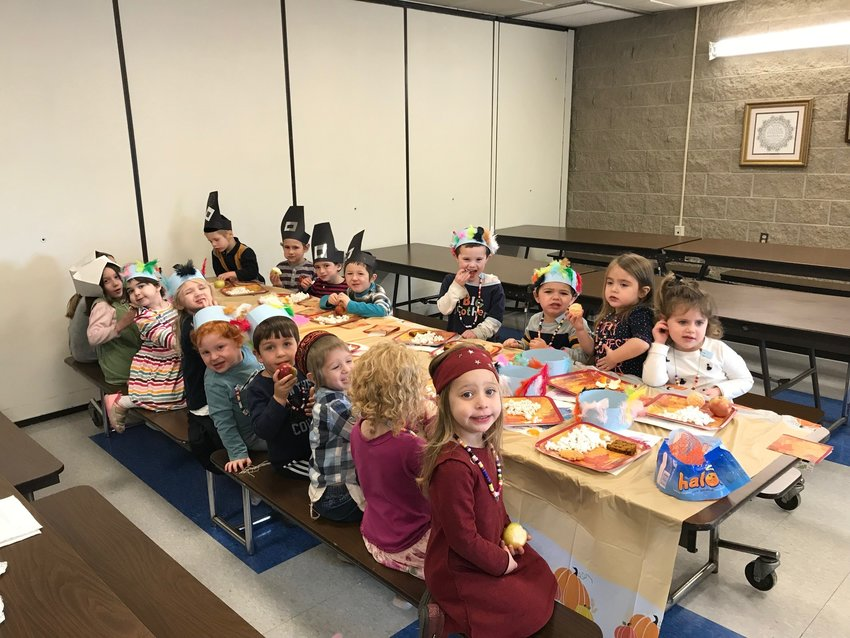 """Pre-K and Kindergarten recent Thanksgiving """"Feast"""" at Providence Hebrew Day School."""