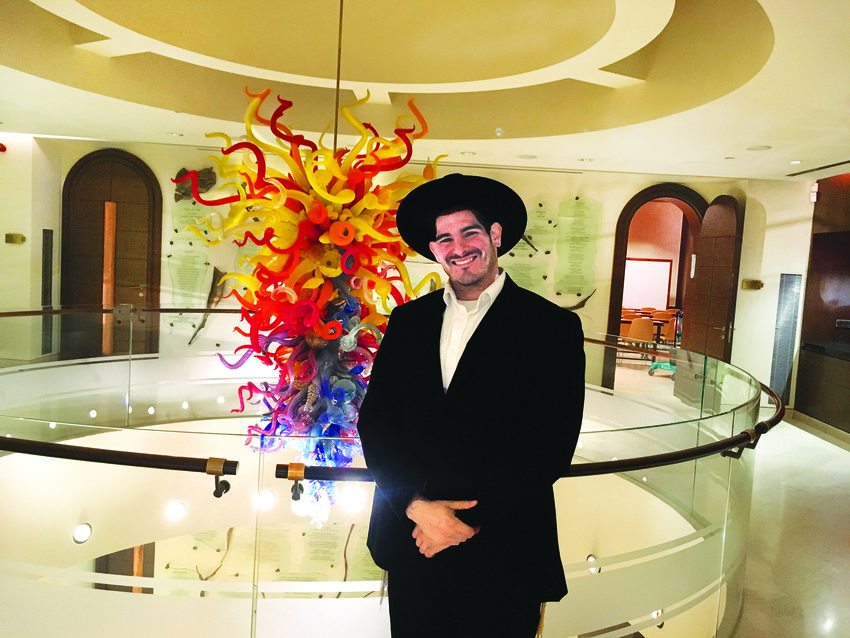 Shalom Mendelsohn inside the Aish HaTorah building.