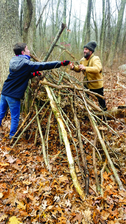 In November, students learned more about the winter forest by creating debris huts.