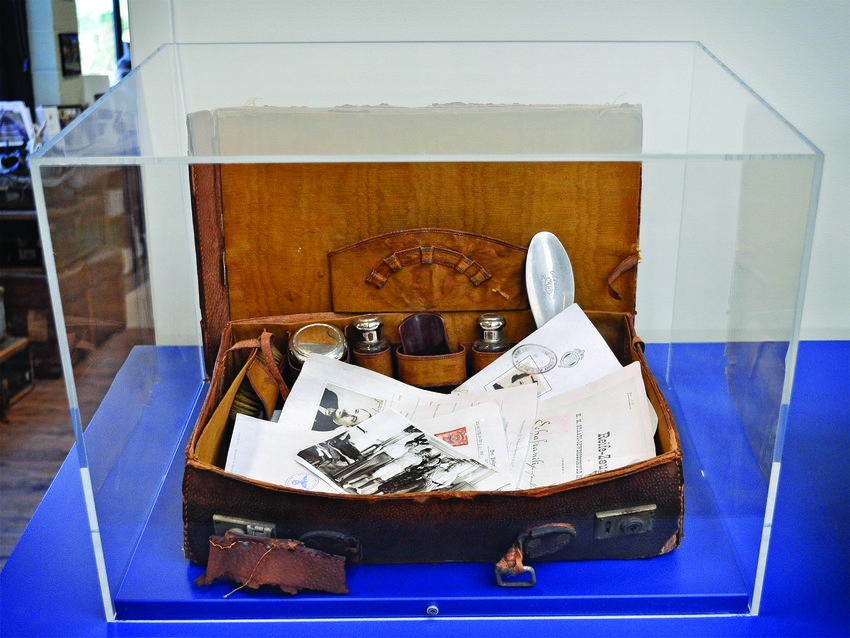 The Little Valise is on display outside the Sandra Bornstein Holocaust Education Center.