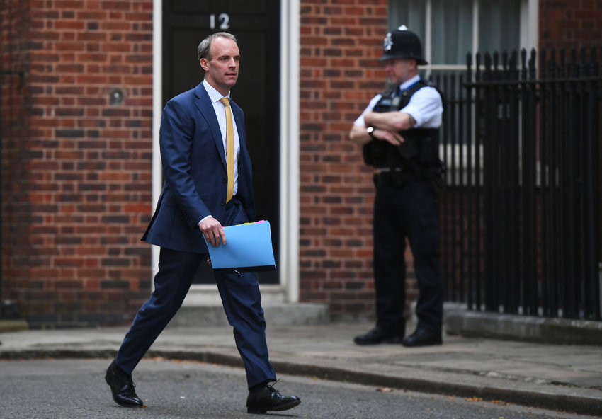 Dominic Raab, Secretary of State for Foreign and Commonwealth Affairs arrives for the daily Coronavirus briefing at No.10 Downing Street on April 07, 2020 in London, England.