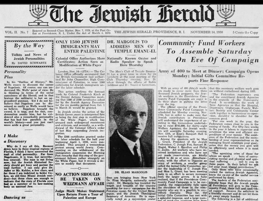 Nov. 1930 issue of The Jewish Herald.