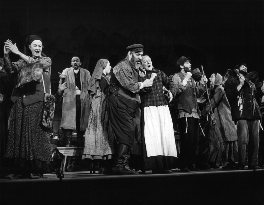 Zero Mostel and Maria Karnilova in a scene from a stage play 'Fiddler On The Roof', 1964.