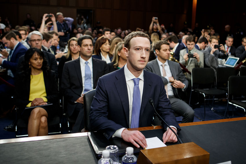 Facebook CEO Mark Zuckerberg testifies at a joint hearing of the Senate Judiciary and Commerce committees on Capitol Hill in Washington D.C., on April 10, 2018. Later that year, the Anti-Defamation League would start to pivot from collaborating with Facebook to pressuring it on its hate speech policies.