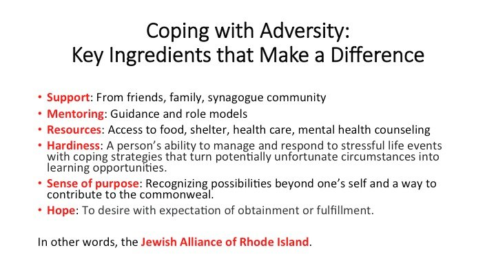 A slide from Frederic Reamer's presentation on Coping with Adversity.