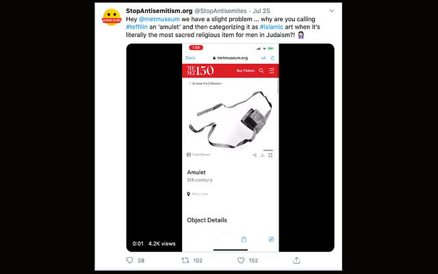 StopAntisemitism.org was one of dozens of accounts to call attention to the Metropolitan Museum of Art's labeling of tefillin in its collection, July 25, 2020. (Twitter via JTA)