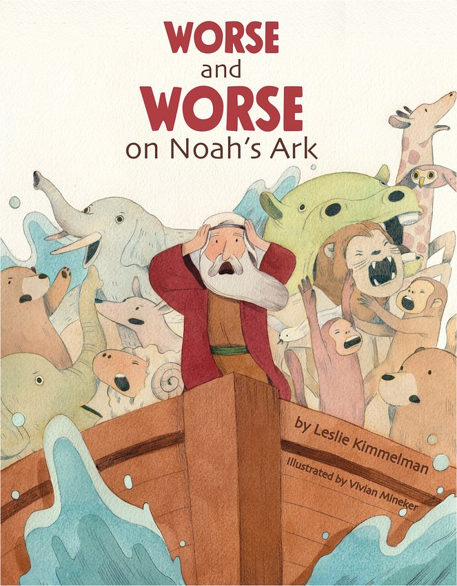 """""""Worse and Worse on Noah's Ark""""    Leslie Kimmelman;   illustrated by Vivian Mineker  Apples & Honey Press;   ages 4 to 8  In this upbeat spin on the biblical story of Noah's Ark, award-winning author Leslie Kimmelman infuses a kid-friendly Jewish sense of humor. The story imagines how bad things can get when Noah and his family shelter through 40 days of the biblical flood in the ark's crowded quarters along with pairs of all their animal friends. The story of Noah is read aloud from the Torah in the synagogue two weeks after Simchat Torah.  In """"Worse and Worse,"""" the animals get seasick, peacocks bicker with the zebras and the skunks make quite a stink. As the troubles amass, Noah's wife and sons complain, """"Could things get any worse?"""" – a refrain that kids can repeat page after page.  Just when readers think the kvetching will never stop, Noah gets the crew working together to fix a leak that threatens them all. They begin to cooperate and care for each other.  Kids will dive in to Mineker's cartoon-like illustrations of zebras, parrots, growling lions and sloths hanging upside down. An author's note prompts conversation about empathy."""