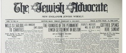 The Jewish Advocate issue of February 9, 1912 on the Jewish Settlement in Boston