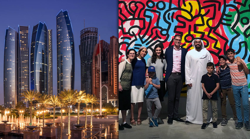 Left: the Etihad Towers complex in Abu Dhabi (Getty Images). Right: The Sarna family in the UAE