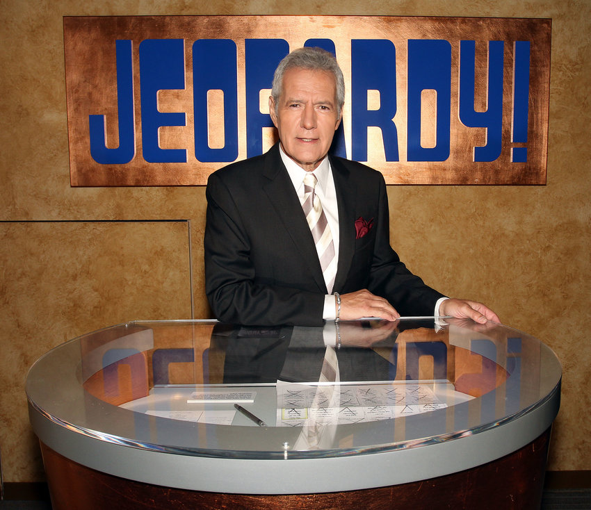 """Alex Trebek poses on set at Sony Pictures in Culver City, Calif., for the premier of the 28th season of """"Jeopardy,"""" Sept. 20, 2011."""