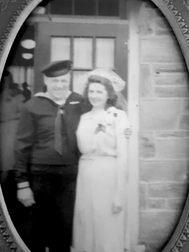 "Isaac ""Ike"" Kessler and Sylvia Kessler are pictured in June of 1945 after they were married. Ike served aboard a destroyer escort in the Navy during World War II."