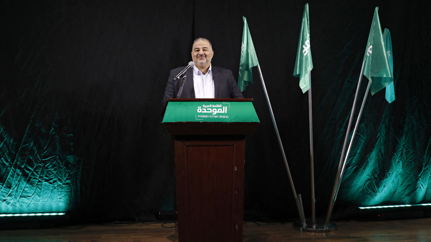 Mansour Abbas, head of Israel's Islamic Raam party, speaks during a press conference in the northern city of Nazareth, April 1, 2021.