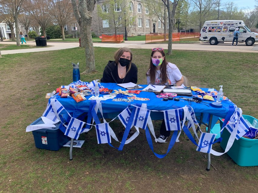 Kayla Weiss and Becca Greenbaum at the Israel celebration sponsored by University of Rhode Island Hillel.