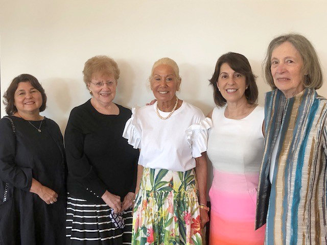Photo of 2021-2022 officers include (from left to right): Mary Gagnon, Marilyn Myrow, Judy Siegel, Marianne Litwin, and Barbara Horovitz Brown. Missing from the photo are: Robin Kauffman, Barbara Kahn, Nancy Riffle and Sue Enzer.