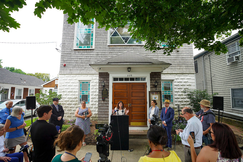 Jewish community representatives and educators call for action on the first day of school which coincides with the first day of Rosh Hashanah at a news conference July 8 outside of United Brothers Synagogue in Bristol.  Jennifer Azevedo, deputy executive director, National Education Association Rhode Island, speaks.