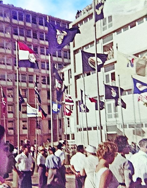 Flags were flying at the 1960 dedication ceremony.