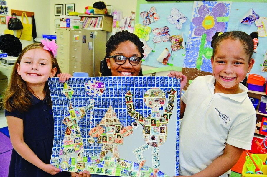 The collage was completed May 24. Pictured are (left to right): BryAnn Nickerson (Foxboro, Massachusetts), Chidera Igbobi,  (Attleboro, Massachusetts, FRCS graduating class of 2016) and Agustina Aranes (Stoughton, Massachusetts).