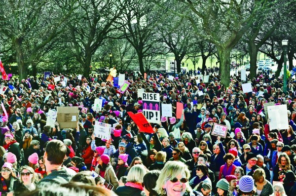 The women's rally in Providence.
