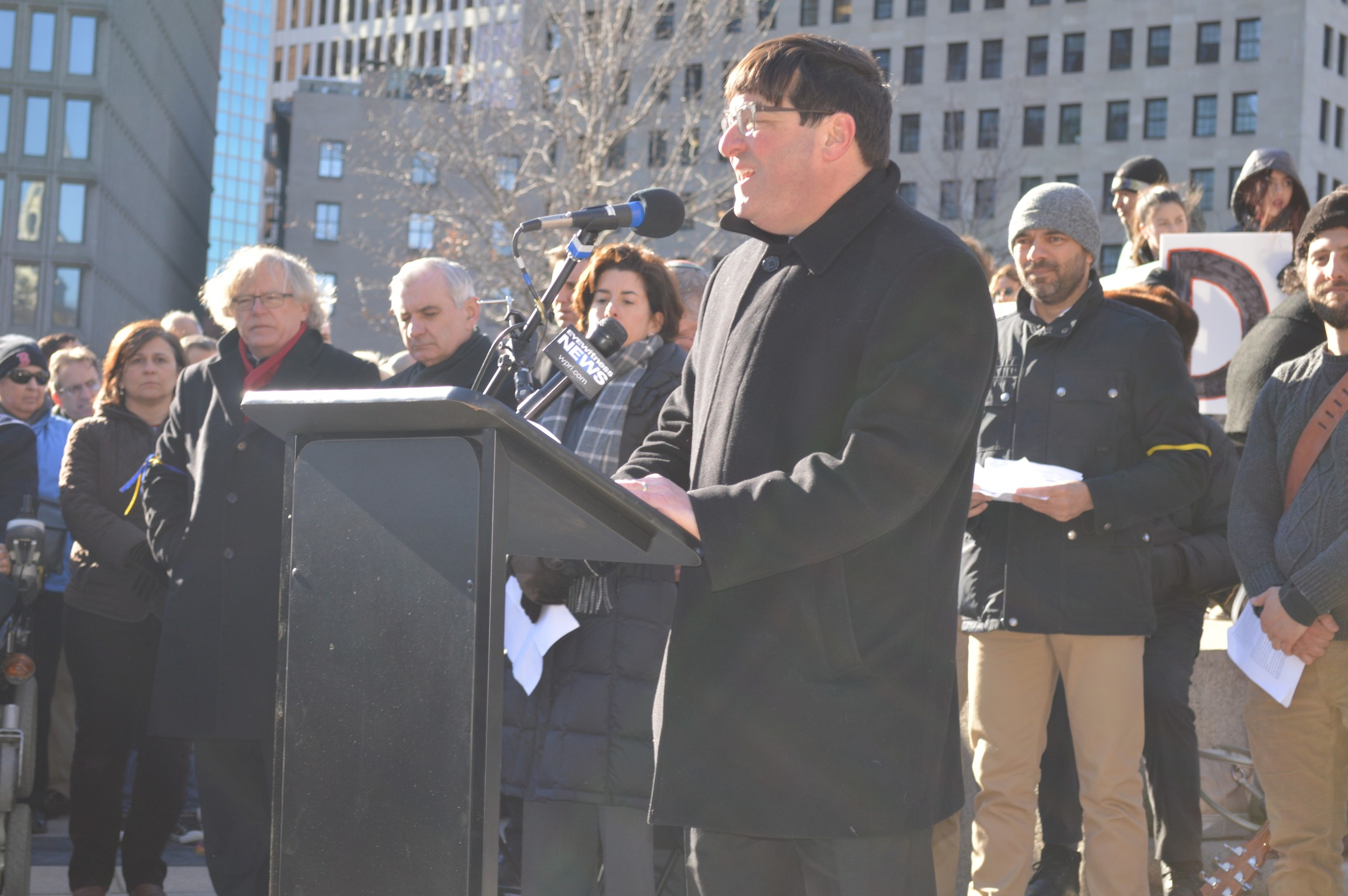 Jeffrey Savit, president and CEO of the Jewish Alliance of Greater Rhode Island, was one of many community leaders who spoke.