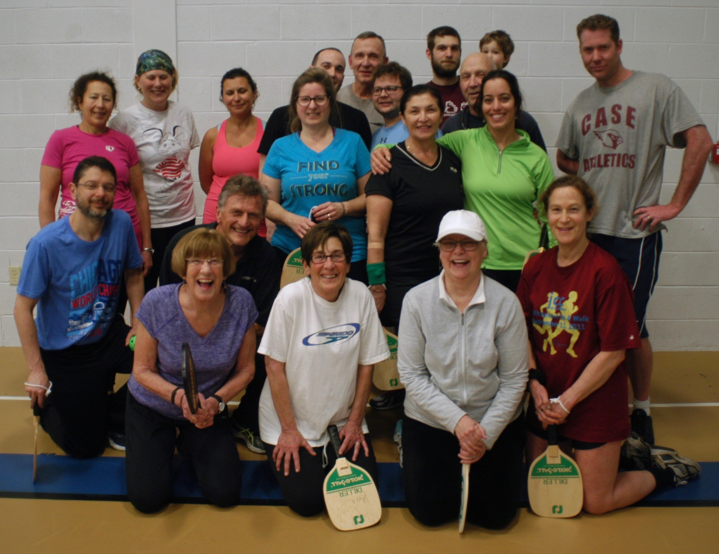 Players enjoy and evening of friendly paddleball games with seven teams of two or three players in a round robin competition.