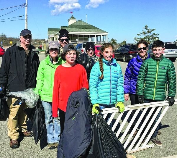 On Good Deeds Day, April 2, Congregation Beth David  members took to the beach to help make it clean and safe:  (left to right) Michael jemal, Beth Dworetzky, Bob Fricklas, jacob Jemal, Maysy Fricklas, Lily Liebermensch, Dara Liebermensch and Ben Liebermensch. Other organizations throughout the Rhode Island Jewish community participated, too.