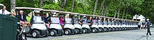 Golf carts await the start of play at Ledgemont Country Club.