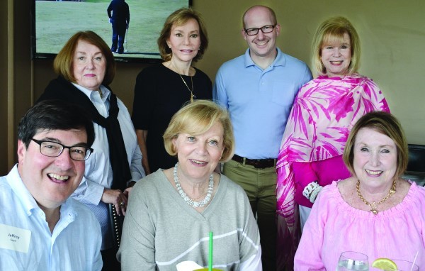 After lunch: (Back, left to right) Linda Silverman, Sandra Bornstein, Adam Greenman and Bonnie Dwares (Front, left to right) Jeffrey Savit, Patty Alperin and Sue Kahn.