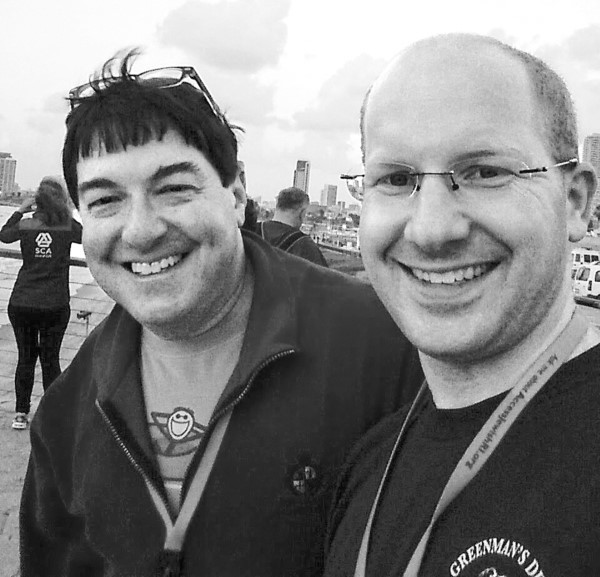 Adam Greenman, right, with former CEO Jeffrey Savit on the Alliance mission to Israel in 2015.