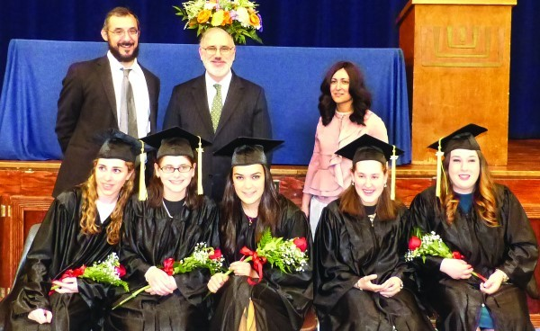 NEAT graduates at their graduation on June 14 with Rabbi Aaron Lapin, principal; Rabbi Peretz Scheinerman, dean; and Tzipora Purec, administrator