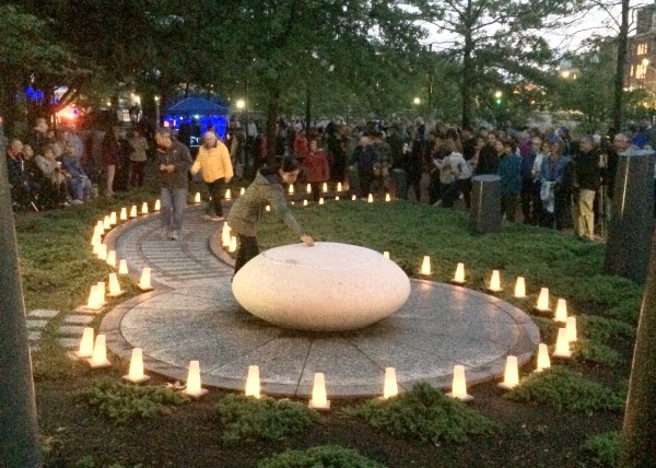 Lined by luminarias, the pathway to the Life Stone at the Rhode Island Holocaust Memorial saw a constant stream of visitors during the Sept. 3 WaterFire.