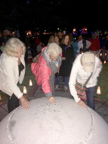 On Sept. 3, during WaterFire, visitors waited in line to leave stones atop the Life Stone.