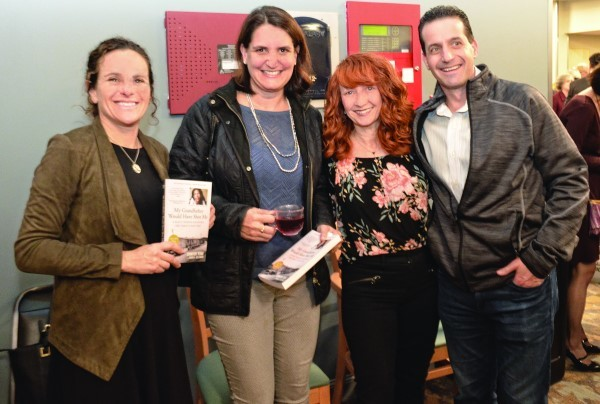 (Left to right) Cara Mitnick, Jocelyn Kaplan, Marisa Garber and Dan Gamm with Jennifer Teege's book.