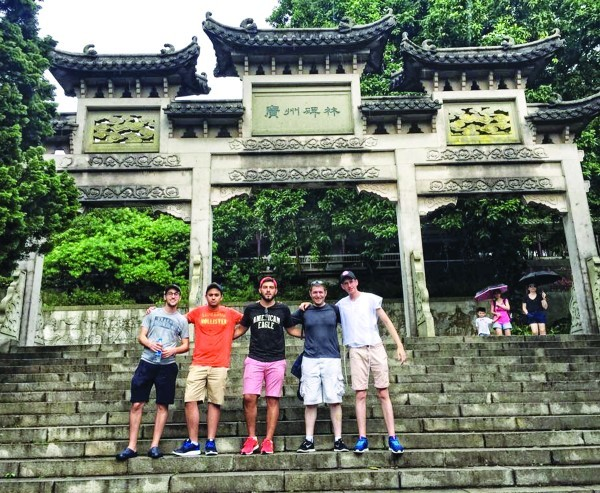 Golden Leaves participants with Dani Stieglitz at the top of Baiyun Mountain in Guangzhou.