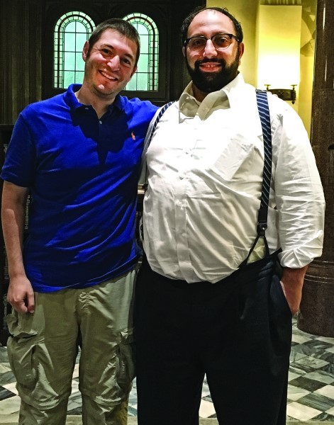 Dani Stieglitz with Rabbi Asher Oser, the former rabbi of Congregation Beth Sholom in Providence.