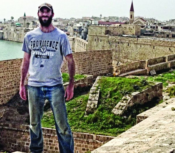 Capt. Aaron Rozovosky of the Rhode Island Army National Guard, a Providence College graduate, is shown in Acre, Israel during his first year of rabbinical school.