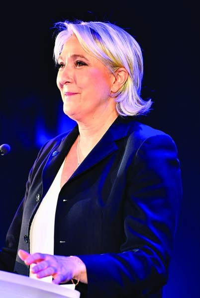 National Front leader Marine Le Pen addresses activists at the Espace François Mitterrand in Henin Beaumont, France, April 23, 2017.