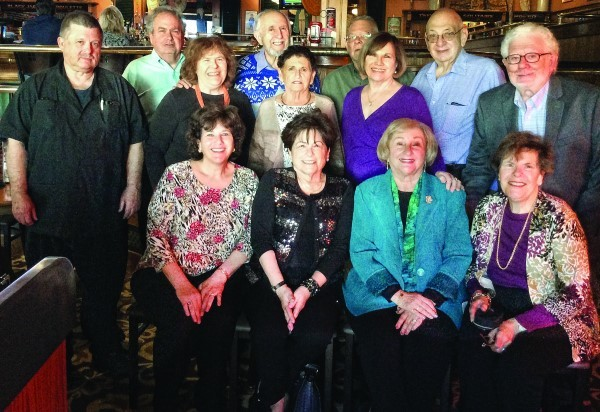 At the Uditsky family reunion on Oct. 28, 2017 in Warwick:  Seated left to right:  Karen Landesberg Steinfeld,  Cathy Horowitz Saltzman, Esta Uditsky Jacobs, Lois Silverman Cohen. Second row left to right: Harlan Shabshalowitz, Linda Silverman Winkleman, Elaine Ballon Leipf, Arlene Silverman Landesberg, Howard Jacobs. Back row: Phil Goldsmith, Jack Winkleman, David Leipf , Mel Landesberg. 