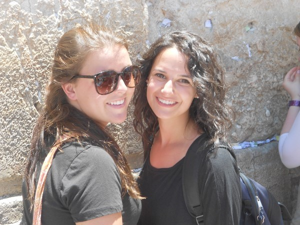 Leah Graff, right, at the Kotel during her Birthright trip in 2012. With her is Marissa Nunez who was a student at the University of Hartford.