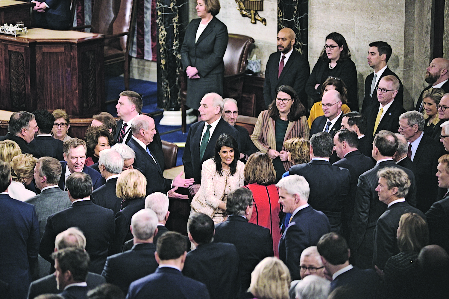 U.N. Ambassador Nikki Haley greets colleagues at the annual 