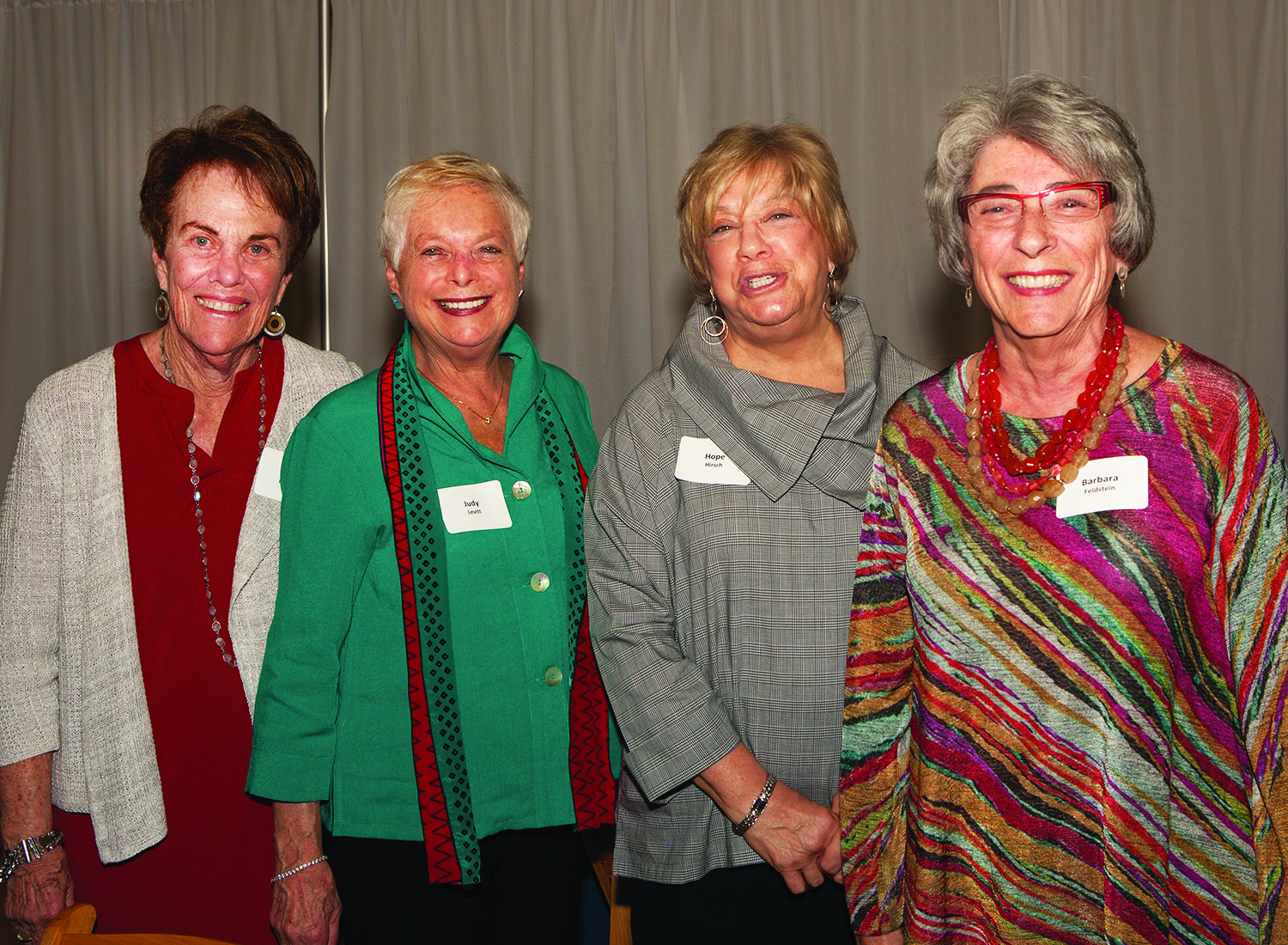 At the Women's pre-reception (left to right): Judy Robbins, Judy Levitt, Hope Hirsch and Barbara Feldstein.