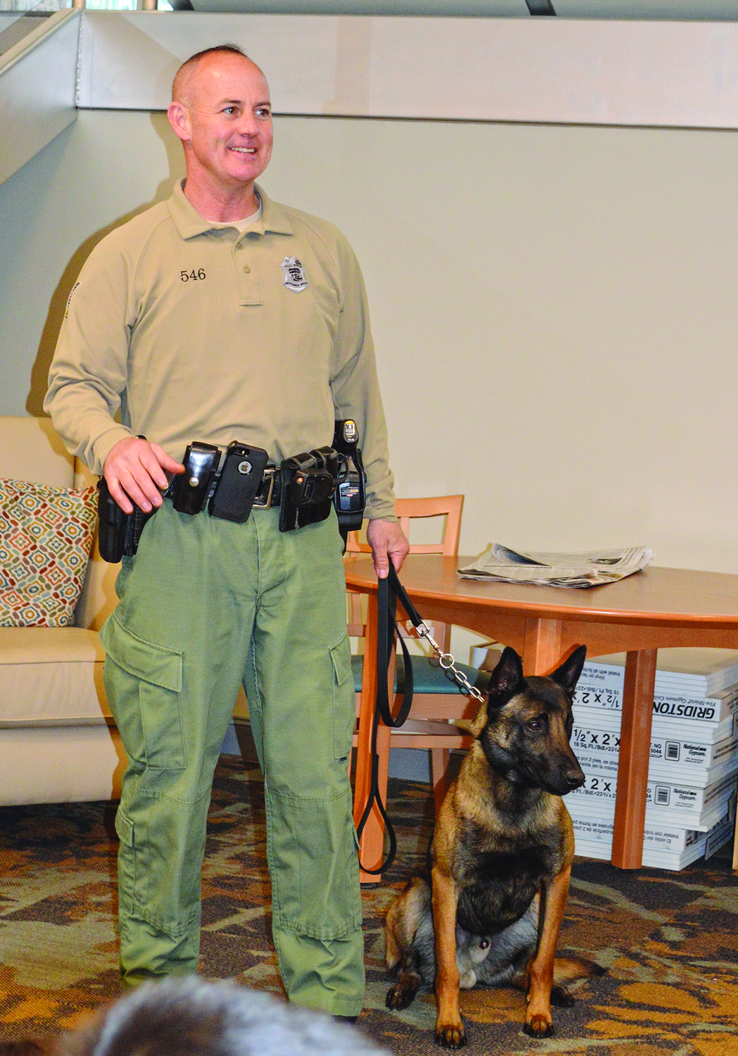 Patrolman Scott Keenan with EDOX at the JCC.