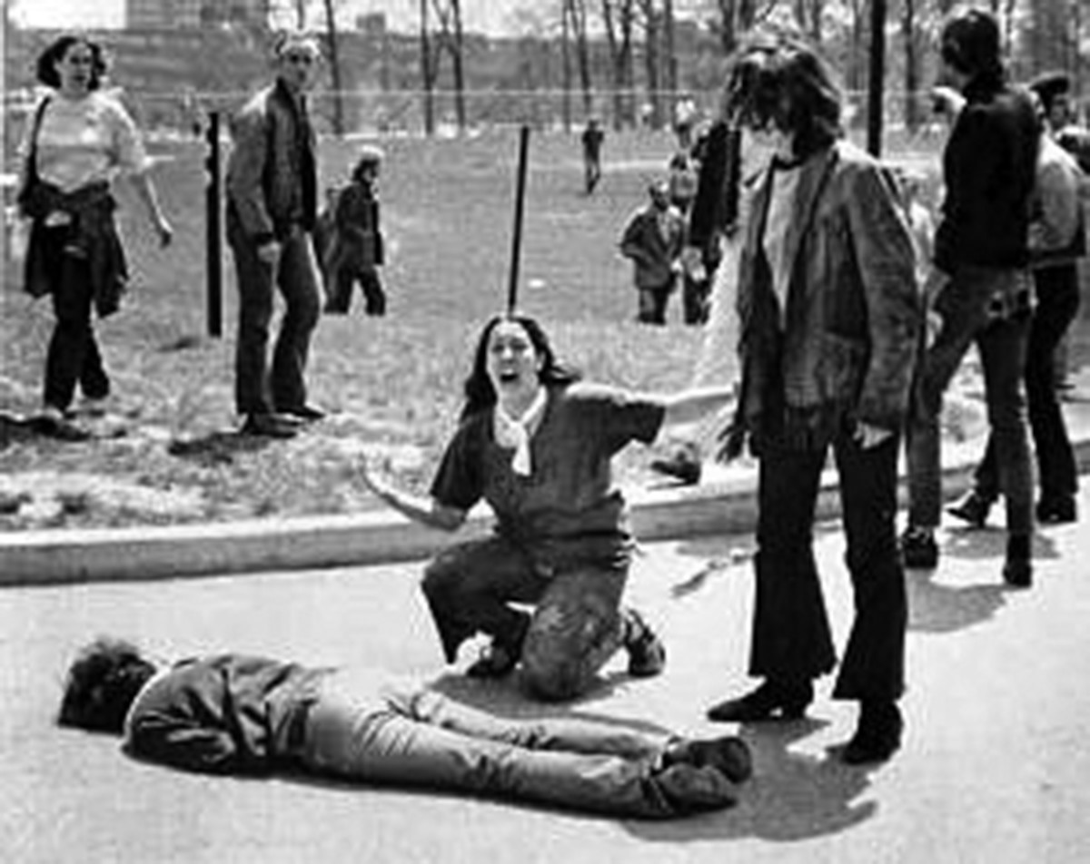 John Filo's Pulitzer Prize-winning photograph of Mary Ann Vecchio, a 14-year-old runaway, kneeling over the body of Jeffrey Miller minutes after he was fatally shot by the Ohio National Guard at Kent State University, May 4, 1970.