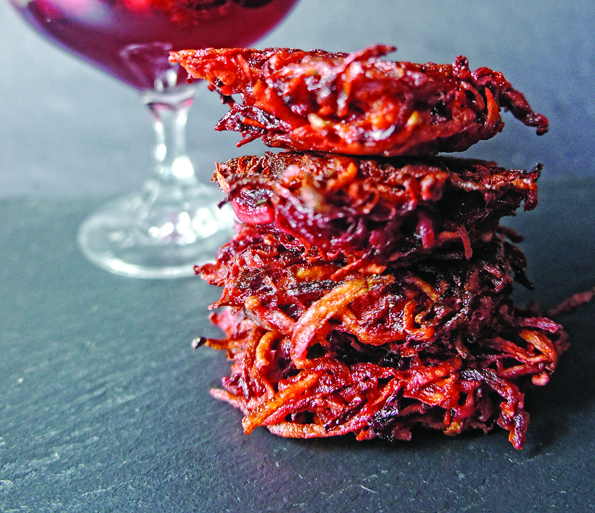 Beet and Sweet Potato Latkes