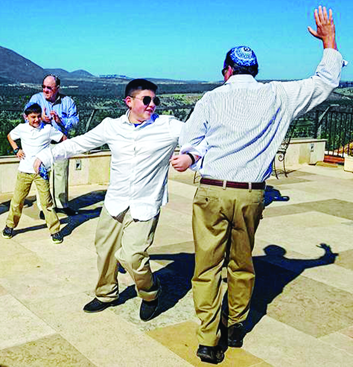 Reese Sock dances during his Bar Mitzvah trip to Israel.