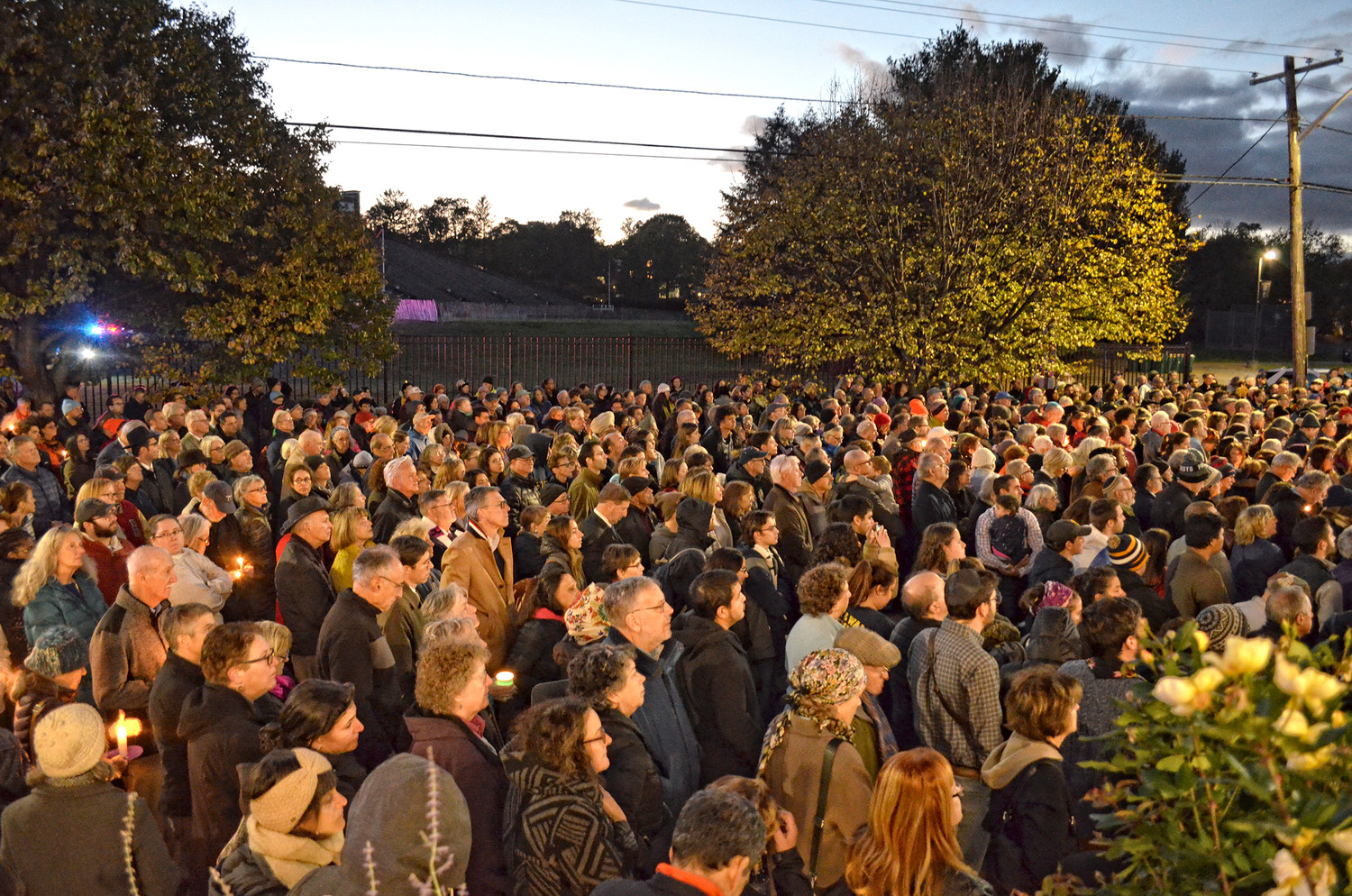 Crowd outside the Dwares Jewish Community Center in Providence Oct. 29, 2018.