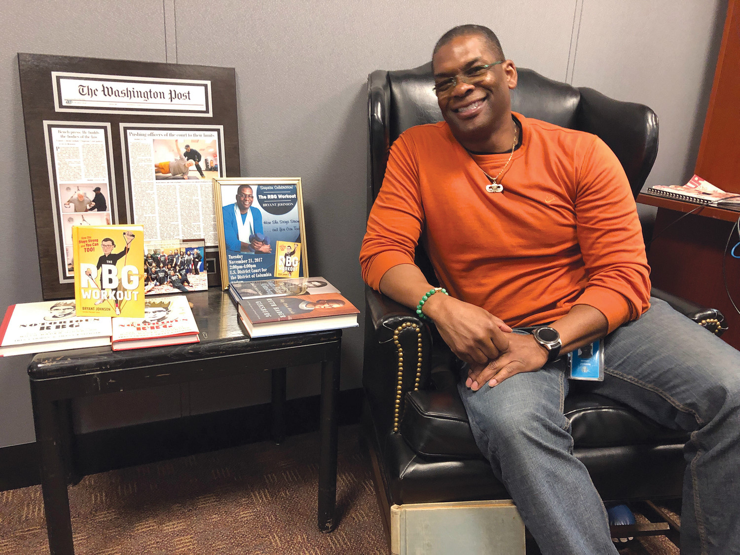 Bryant Johnson, Ruth Bader Ginsburg's personal trainer, in his office in the U.S. District Court in Washington, D.C., Dec. 19, 2018.
