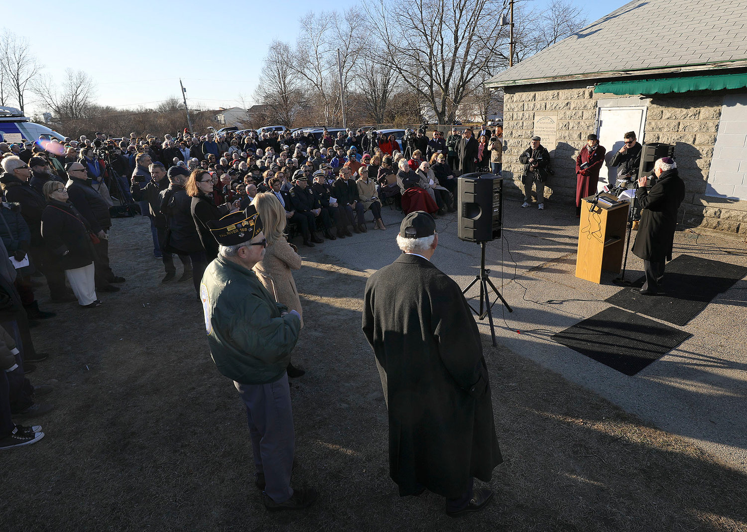 Ceremony/vigil after recent anti-Semitic vandalism at the Fall River Hebrew Cemetery.