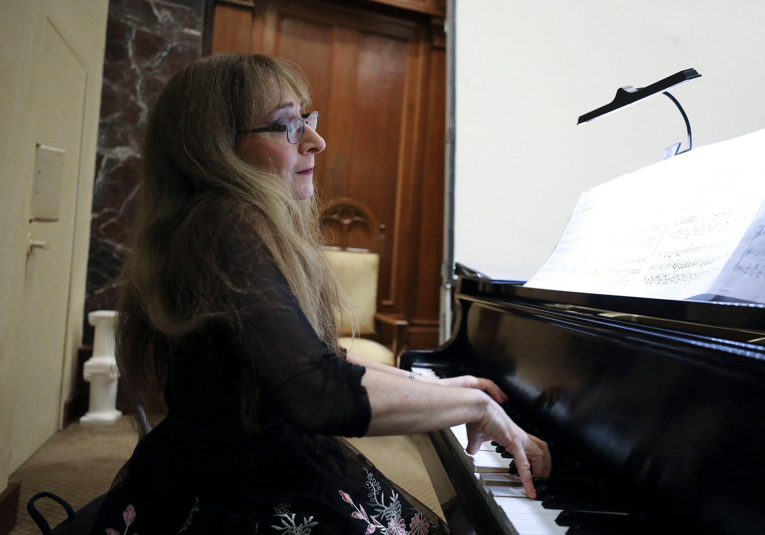 Pianist Judith Lynn Stillman also arranged songs that were played at the ceremony.  Jewish Rhode Island/Glenn Osmundson